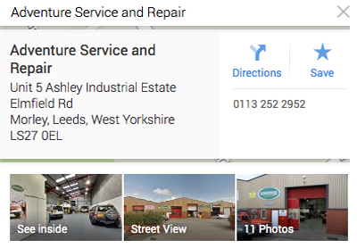 google maps view of Land Rover Service Leeds Yorkshire and Land Rover Repair Leeds Yorkshire